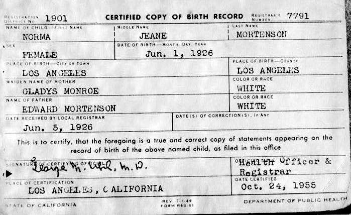 Fichier:Marilyn Monroe Birth Certificate.jpg