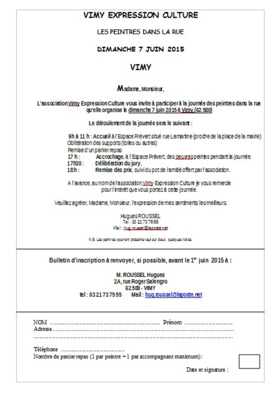 Formulaire d'inscription VIMY 2015