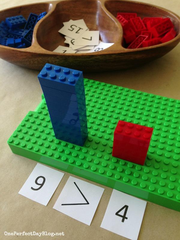 Comparer des petits nombres avec des légos