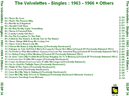 "The Velvelettes : CD "" The Singles 1963-1966 +Others "" SB Records DP 34 [ FR ]"