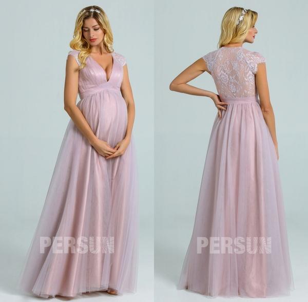 robe soirée longue tulle parme clair pour femme enceinte à dos dentelle