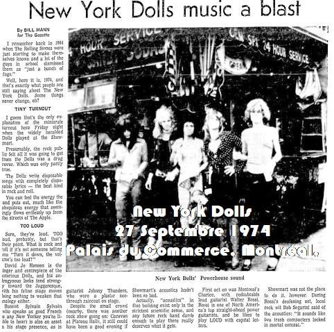 RIP Sylvain Sylvain: New York Dolls - 27 Septembre 1974 - Palais du Commerce Montreal