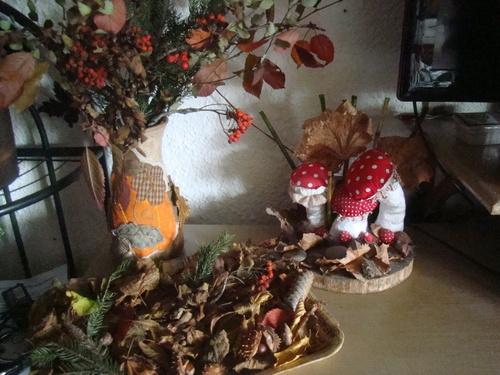 petite déco,vase  aux couleurs de l automne