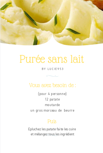 Purée de patate sans lait