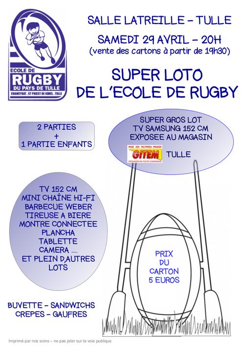 Super loto de l'école de rugby - Samedi 29 avril 2017