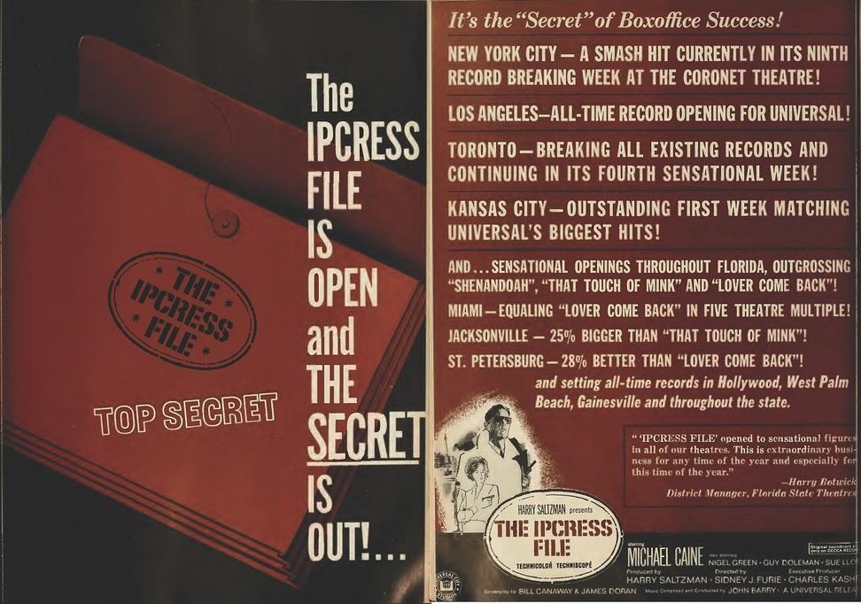 THE IPCRESS FILE BOX OFFICE USA 1965