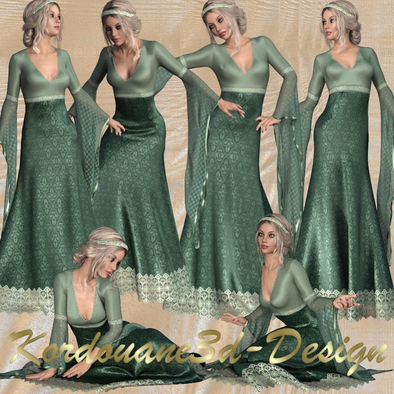 Anémone : Femme en robe du Moyen Âge