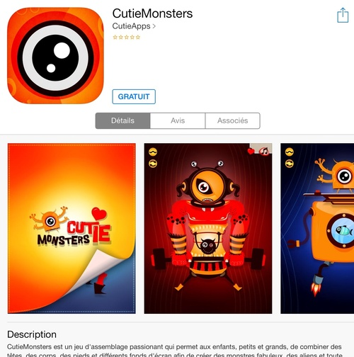 [appli gratuite] CutieMonsters