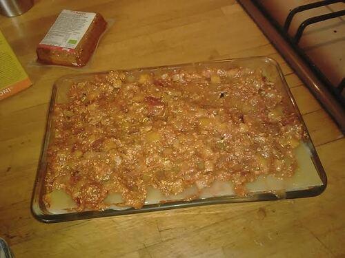 Lasagne au tofu, oignon rouge et carotte