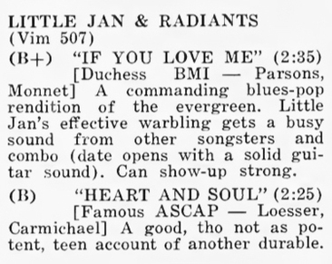 Little Jan & The Radiants (2) aka The Teen-Tones (1)