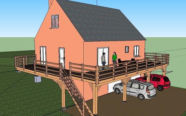 Projet construction terrasse bois sur pilotis