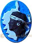 Blason Corse avec tête de Maure, peint - Arts et Sculpture: sculpteur, artisan d'art