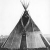 Vision tipi of an Assiniboine medicine man named Nosey (painted with symbols seen during vision ques
