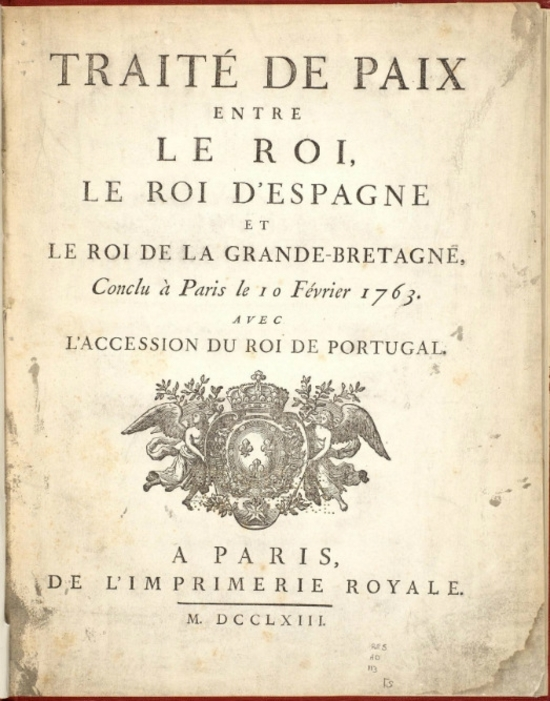 Le traité de Paris de 1763