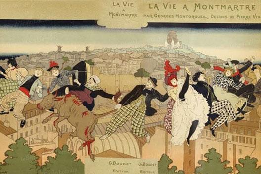 Pierre Vidal, couverture de La Vie à Montmartre, 1897, coll. part.