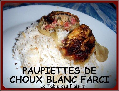 PAUPIETTES DE CHOUX FARCI