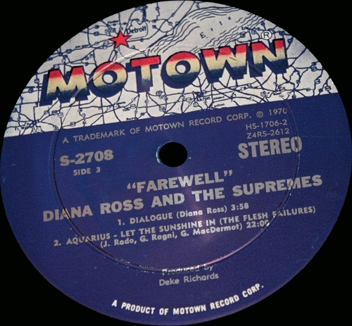 "Diana Ross & The Supremes : Album "" Farewell "" Motown Records MS2-708 [ US ]"