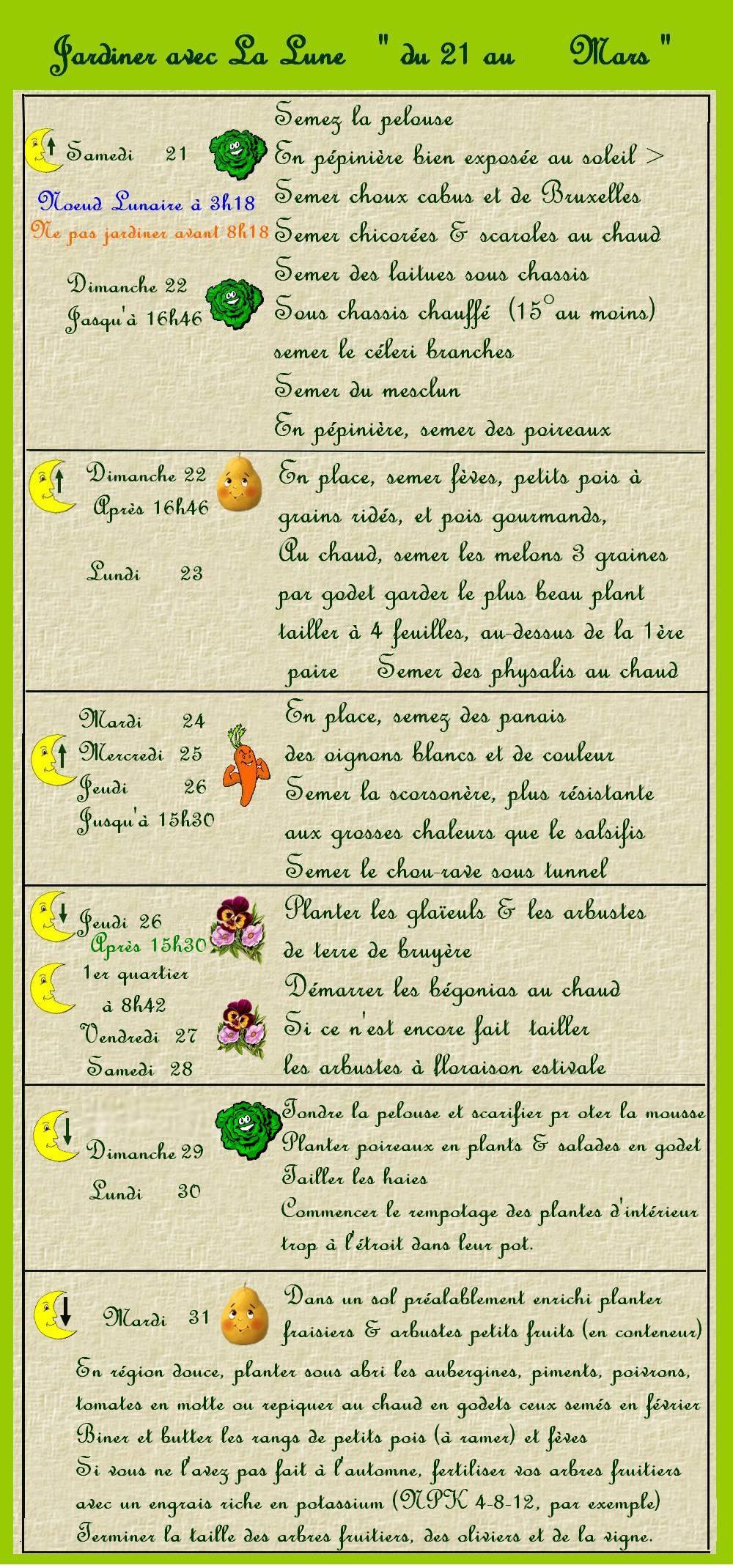 Jardiner avec la Lune du 21 au 31 mars