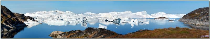 Panorama sur le paysage admiré depuis le chemin menant vers l'Isfjord - Ilulissat - Groenland