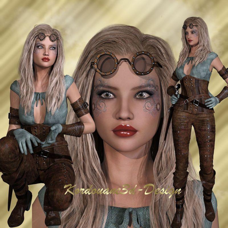Blondie Tube femme steampunk (png)