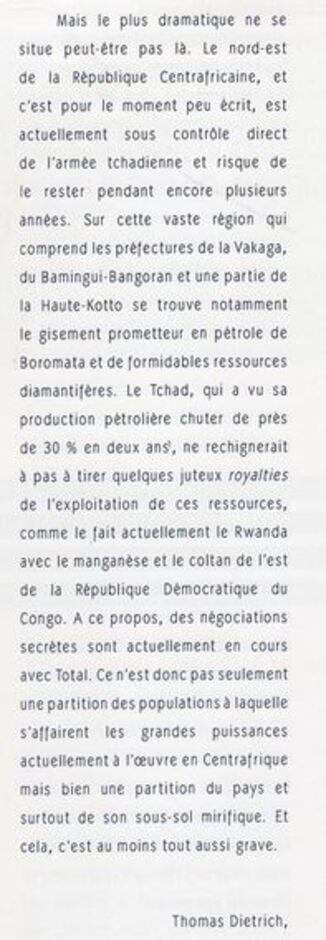 Centrafrique : l'écrivain Thomas Dietrich accuse Deby et la France (revue de Sciences Po)