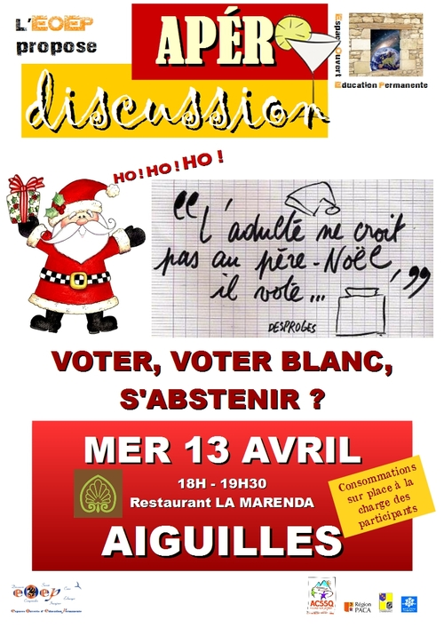 "Apéro-discussion ""Voter, voter blanc, s'abstenir ?"""