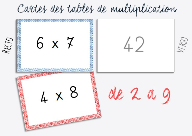 Cartes des tables de multiplication de 2 à 9