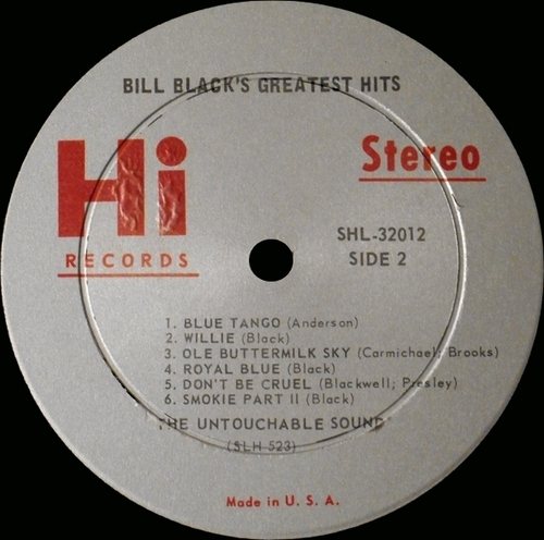 "Bill Black's Combo : Album "" Greatest Hits "" Hi Records SHL 32012 [ US ]"