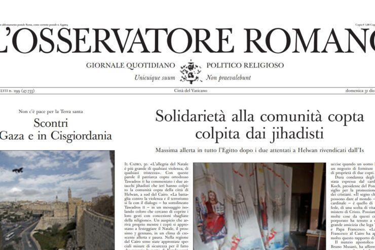 Une de L'Osservatore Romano du 30/12/2017