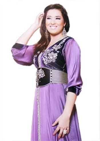Caftan simple en patchwork broderie sur kaftan mousseline et velours pour mariage marocain KAF-S823
