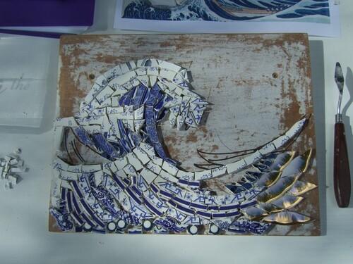 """Dans le style de Hokusai en """"pique assiette"""""""
