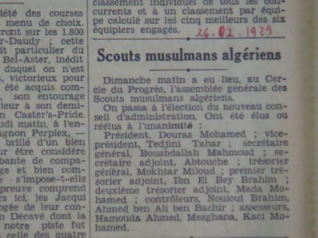 26.2.1939 Scouts Musulmans élection du Mouloudéen Bouras