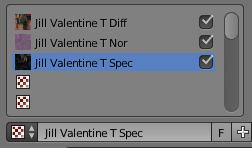 Les 3 textures associées au matériel Jill Valentine M