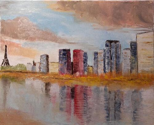 Paris, la Seine, la tour et les buldings