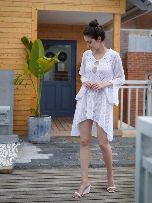 shestar wholesale eyelet tie-up cutout beach kaftan