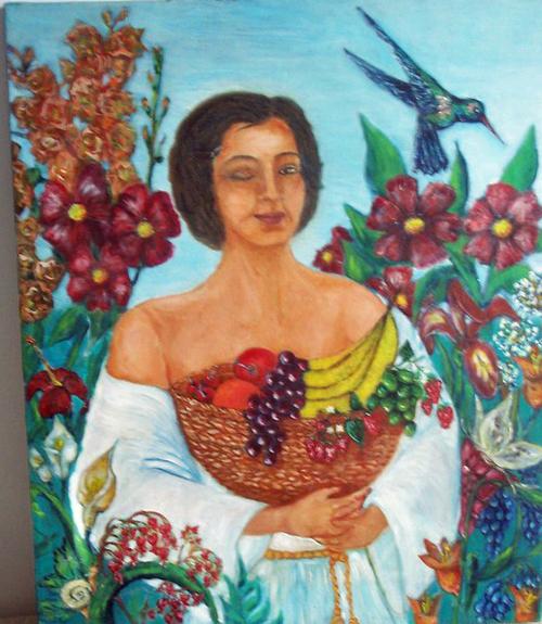 Toile ''Femme au panier de fruits''