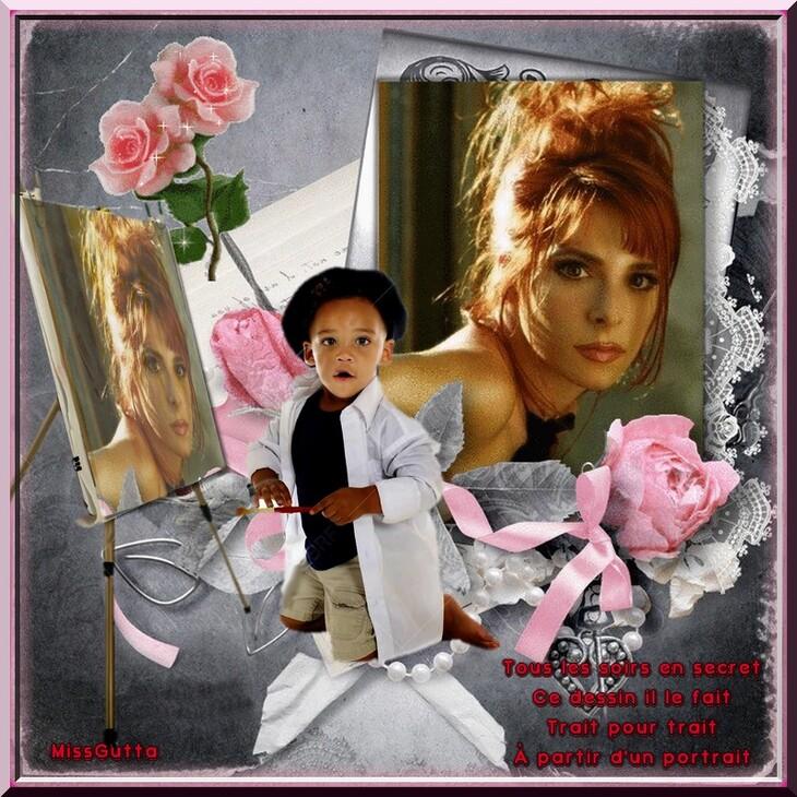 """Défi """" Le portrait """" pour amie Lilou blog du partage ,"""