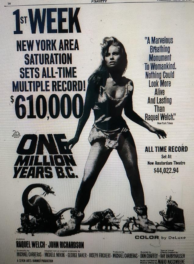 ONE MILLION YEAR B.C.box office usa 1967