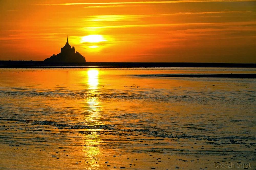 Coucher de soleil, Mont-Saint-Michel