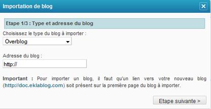 Importer mes blogs sur EklaBlog
