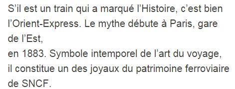 **  L'ORIENT EXPRESS  d'AUTREFOIS*