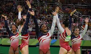 The quintet of Simone Biles, Aly Raisman, Gabby Douglas, Laurie Hernandez and Madison Kocian after winning gold.