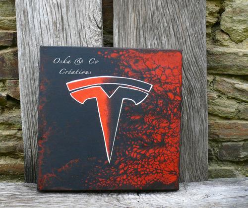 Tableau fond abstrait noir et rouge avec le logo Tesla