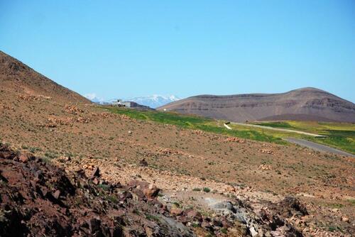 La neige sur l'Atlas dans le lointain