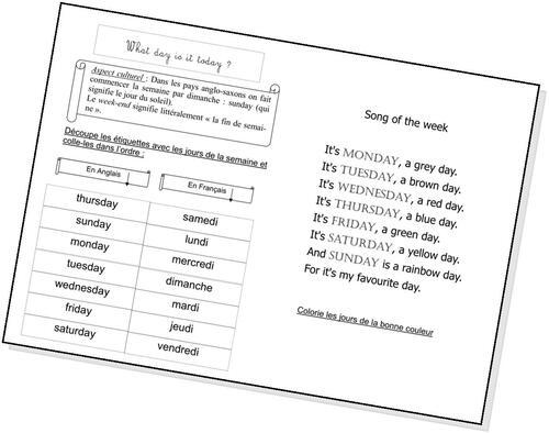Les jours de la semaine en Anglais