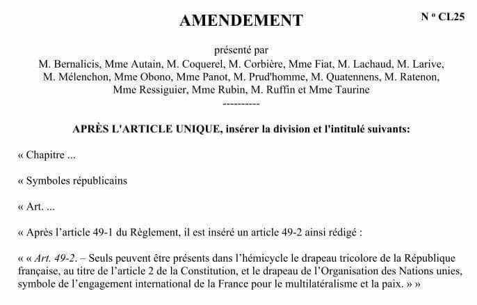 Les députés de La France insoumise souhaitent que le drapeau de l'UE ne figure plus dans l'enceinte de l'Assemblée Nationale