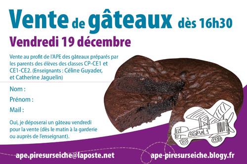 - Vente de gâteaux 19 décembre 2014