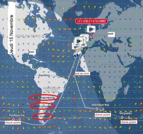 Vendée Globe : 6ème jour : Jeudi 15 Novembre