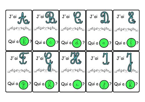 J'ai .... qui a    l'alphabet