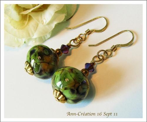 Boucles D'oreilles Florales Verre filé Vert Mauve, Cristal de Swarovski, Plaqué Or GF